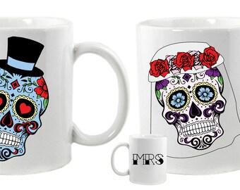 Sugar Skulls Matching Mr and Mrs Wedding Mugs