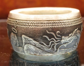 Pure Silver Angel and Serpent Isle of man coin ring for good luck