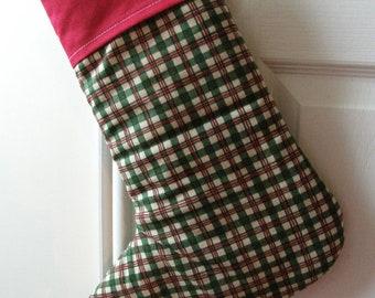 Christmas Stocking Padded Tartan print with red trim