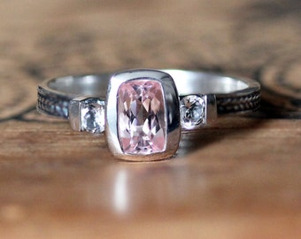 Morganite engagement ring, 3 stone ring, white topaz, braided ring, three stone ring, oxidized silver, braid ring, Wheat ring, size 6