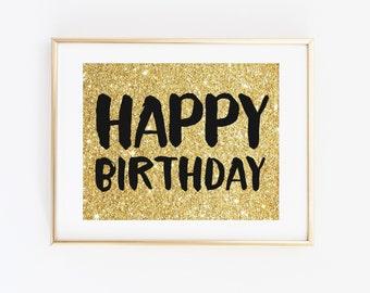 Happy Birthday Sign, Gold Glitter Black Printable Birthday Party Decoration, Birthday Banner, Birthday Decor, Gold Party Sign Printable