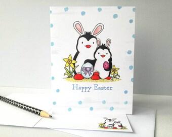 Penguin Easter card, funny Easter card, Happy Easter, Easter bunny penguins, Blank inside