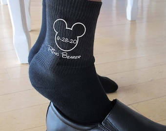 Ring Bearer Wedding Socks Custom Printed Youth Size, Mouse Ears Personalized Ringbearer Socks Sold by the Pair