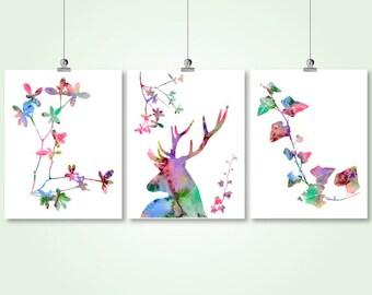 deer watercolor printable digital print set stag deer antlers silhouette colorful nursery wall art set of 3 pdf decor instant download jpg
