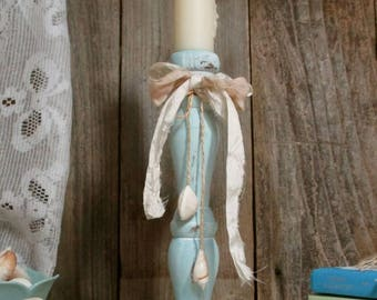 Turquoise Shabby Chic Beach Cottage Candle Holder / UpstairsAtAliceAnns