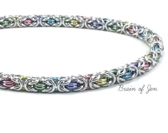 Sterling Silver and Aluminum Pastel Rainbow Collar with Engraved Sterling Heart Lock RESERVED