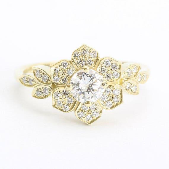 delicate lily ring art deco flower ring rose gold engagement. Black Bedroom Furniture Sets. Home Design Ideas