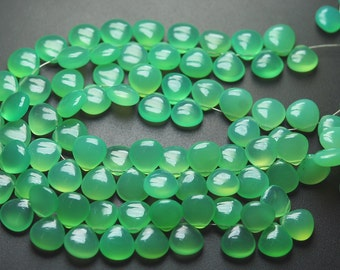 7 Inch Strand,Finest Quality New Chrysoprase Chalcedony Smooth Heart Shape Briolettes,10mm size