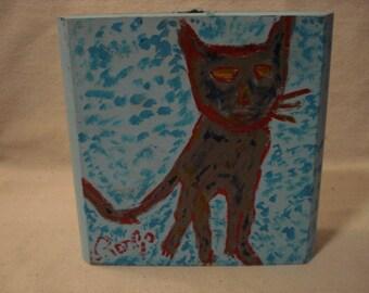 The HUNTER Folk Art Outsider Art Rongo Painting on Large Cigar Box