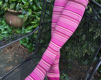 Long Cotton Trouser Socks Cotton Knee High 2 Pair of Pink Yellow Stripes Turquoise Stripes Cotton Knee Lenght Striped Boot Socks Dance Socks