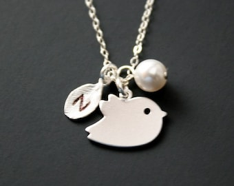 Personalize Bird and initial Leaf necklace with Pearl - Sterling Silver, Pearl necklace, Bird Jewelry, Customized initial Leaf, mom necklace