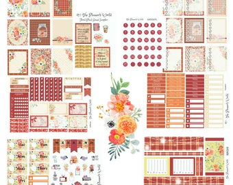 Autumn Floral Plaid - floral plaid weekly - Sticker Kit - Ultimate weekly kit - vertical planner kit - plaid weekly planner stickers