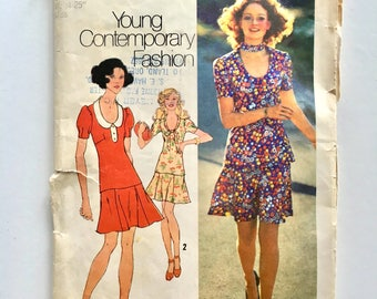 Vintage Sewing Pattern Women's 70's Partially Uncut, Simplicity 9915, Two-Piece Mini-Dress (XS)
