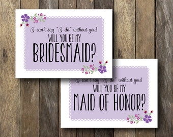 Printable Maid of Honor Card - Instant Download - Printable Bridesmaid Cards - Will you be my Maid of Honor - Maid of Honor Invitation