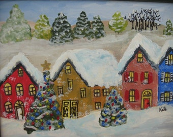 Original Painting -  Framed - Winter Painting -  Great Holiday Gift