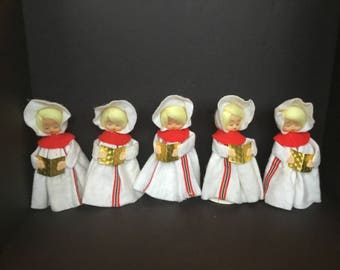 White Christmas Carolers Made in Taiwan - Set of 5