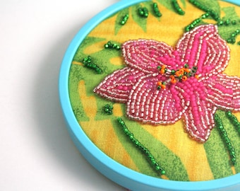 Sale, Embroidery Hoop Art, Mixed Media, Modern Embroidery, Bead Embroidery, Tropical, Seed Beads