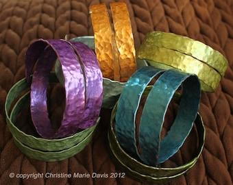 Gifts for Knitters SMASHED Metal Knitting Needle Bangle Bracelet - Mother's Day boho Gypsy Retro HandMade from Vintage Aluminum Needles