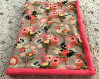 Pink and Gray Flowers 3 Layer Quilted Fleece Blanket (Pinks, Gray, Yellows, Orange, Greens, Pink Backing)(READY to SHIP)