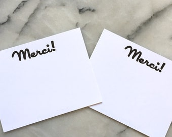 Merci! Note Cards, Set of 8 Flat Cards with Envelopes