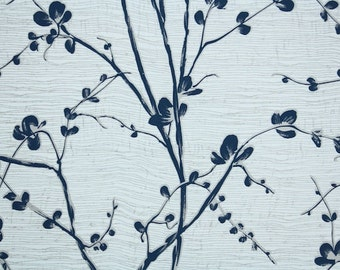 Retro Wallpaper by the Yard 70s Vintage Wallpaper - 1970s Dark Blue Floral Branches with Navy Flower Blossoms on Gray and White