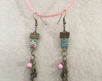 Earrings, bronze and pink