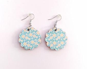 Flowers Wood Earrings