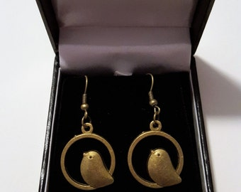 Steampunk Antique Bronze Bird/Hoop Earrings