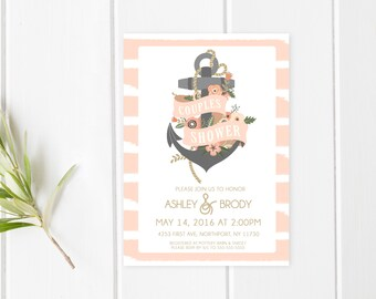 Couples Shower Invitation, Nautical Couples Shower Invitation, Bridal Shower Invitation, Anchor Bridal Shower Invite, Couples Shower [424]