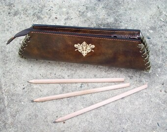 Handmade Leather Braided Pencil Case Olive green