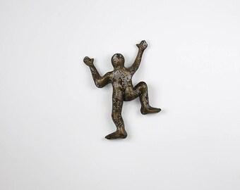 Miniature climbing figure, wire mesh sculpture, wall hanging, Metal art, rock climber, sports decor, art decor