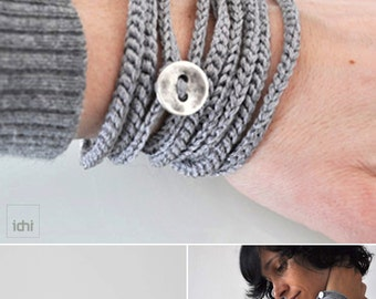 Crochet wrap Bracelet and Necklace in one piece. Wrapped bracelet. Silver color . Coiled Bracelet. Threaded Bracelet. Textile Jewelry.