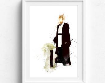 Yoda art, yoda poster, star wars art, star wars yoda, star wars wall art, yoda watercolor, star wars art print, master yoda art yoda fan art