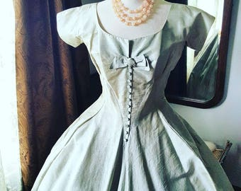50's 50s 1950s Mint Green Grey Raw Silk Full Fit n Flare Vintage Dress Bow Medium M Buttons