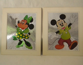 Vintage Unframed Pair of Mickey Mouse & Minnie Mouse Prints