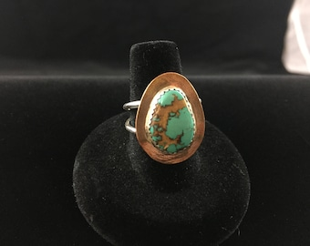 Turquoise and Copper Double Band Ring