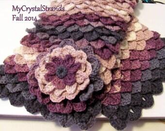 "Crochet Crocodile Stitch Scarf w/ Flower in Variegated Plum/Grey - ""Limited Stock"" - Listing For One Scarf"