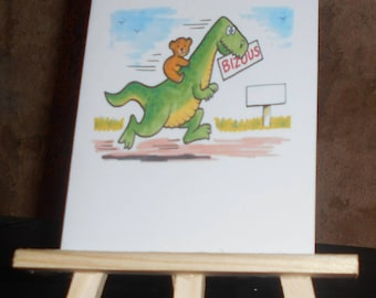Card with a bear and a dinosaur