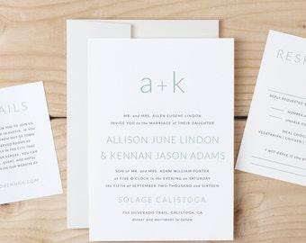 Monogram Wedding Invitation Template, Printable Wedding Invitation, Word or Pages, 100% Editable, INSTANT DOWNLOAD