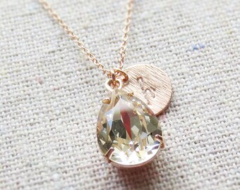 Swarovski Champagne Teardrop Crystal Rose Gold Necklace Stamped Initial Bridal Jewelry Wedding Necklace Personalized Bridesmaids Gifts