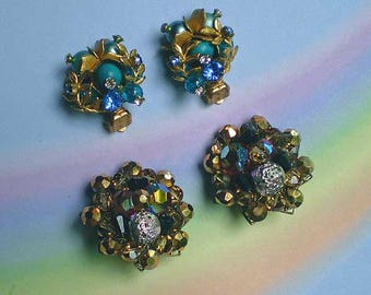 Vintage 50s Flashy Rhinestone and Bead Earrings Lot 2