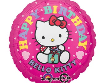 "Hello Kitty ""Happy Birthday"" Helium Mylar 18"" Balloon - Hello Kitty Party, Hello Kitty Birthday Party, Celebration, Girls Birthday, Pink"