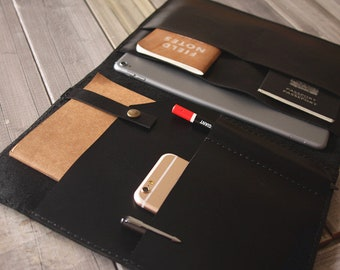 "Leather New iPad Case portfolio, Apple Pencil Sleeve, 10.5"" / 2018 9.7"" iPad Pro leather portfolio, Custom / 9.7"" 10.5"" 12.9"""