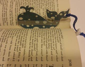 Whale Bookmark- Blue/Silver or Red/Gold With White Polka Dots