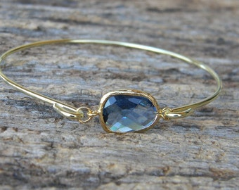 Gold Bangle Bracelet / Navy Blue Bracelet / Bridesmaid Gift / Bridesmaid Jewelry / Bridesmaid Bracelet /  Sapphire September Birthstone