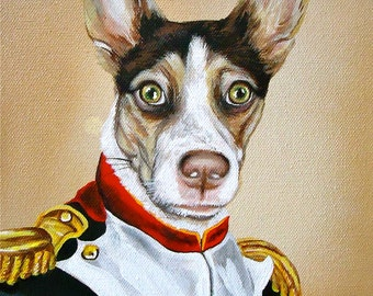 8x10 size Outfit or Costume napoleon dog painting custom order Pet in COSTUME Sample painting Sample size 8x10