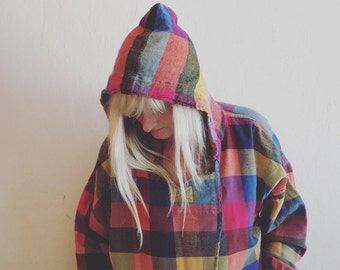 Bonjour plaid flannel pullover hoody, S/M/L