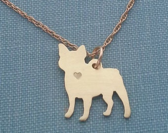 French BullDog Necklace, 14kt gold filled & Brass Personalize Pendant, Breed Silhouette Frenchie Charm Rescue Shelter, Memorial Gift