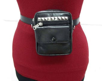 2-in-1 Studded Black Leather Waist Belt Bag, Cross Body Bag, Hand Free Hip Bag, Fanny Pack, Festival Pouch, Removable Strap