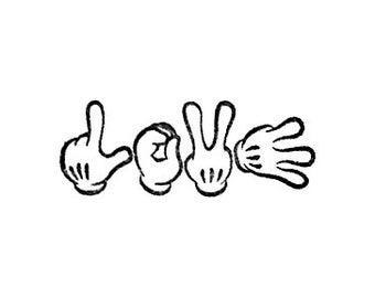 glove hands love rubber stamp gloved love